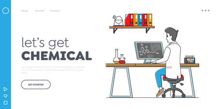 Pharmaceutical Research Landing Page Template. Scientist Male Character Work on Pc in Laboratory. Chemistry Science