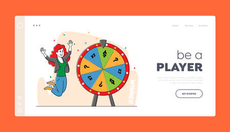 Lucky Woman Character Win Jackpot Landing Page Template. Bingo Lottery, Fortune Wheel in Casino, Gaming House, Raffle