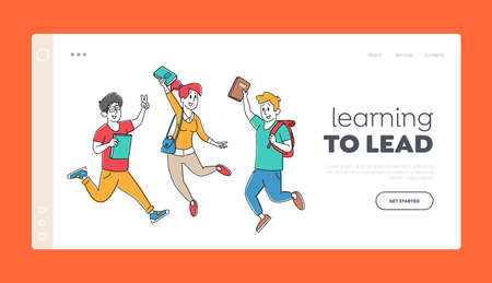 Happy Classmates Jump Landing Page Template. Adult Pupils Characters with Backpacks Rejoice with Hands Up Jumping
