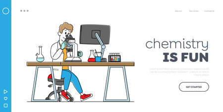 Pharmaceutic or Chemical Laboratory Research, Experiment Landing Page Template. Male Scientist Character Work in Lab