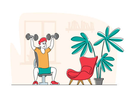 Sportsman Power lifter Training at Home with Dumbbells Sitting on Sports Bench, Male Character Workout with Weight, Sport