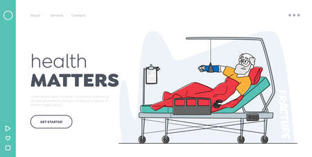 Hospital Traumatology Department Landing Page Template. Senior Male Character Lying in Clinic Chamber with Broken Arm 矢量图像