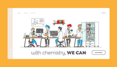 Chemistry Science Landing Page Template. Scientists Characters in Chemical Lab with Equipment, Computer, Microscope 矢量图像