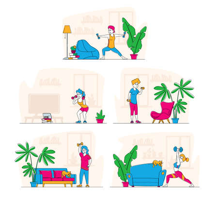 Set of Sportswomen Exercising with Dumbbells Concept. Female Characters in Sportswear Workout with Weight at Home, Sport Illustration