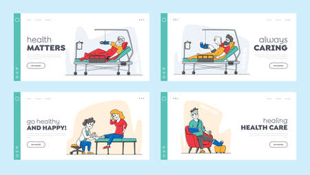 Injured Patients and Doctor Landing Page Template Set. Characters with Fracture Lying on Bed with Bounded Head