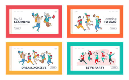 Happy Students Characters Jumping Landing Page Template Set. Schoolboys or Schoolgirls Laughing, Waving Hands, School