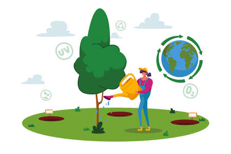 Forest Restoration, Reforestation and Planting New Trees. Woman Volunteer Character Care of Green Plant, Save Nature