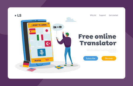 Application for Learning Foreign Language Landing Page Template. Online Technologies, Virtual Studying, E-learning