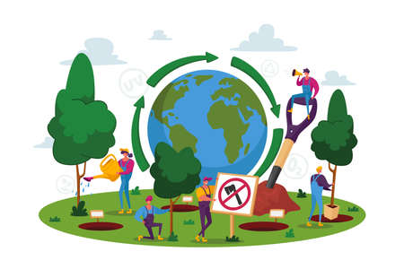 World Environment Day, Reforestation, People Characters Planting Seedlings and Growing Trees into Soil Working in Garden