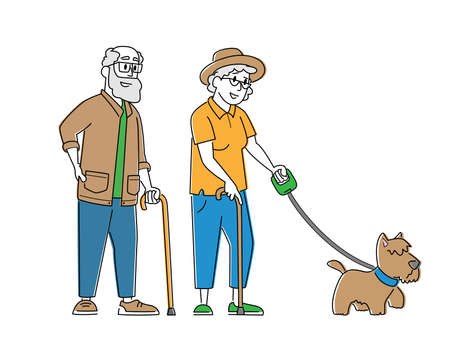 Elderly Couple Walk with Dog. Senior Male and Female Characters Walking with Pet, Spending Time Outdoors Relaxation
