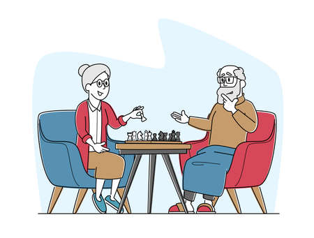 Senior Man and Woman Playing Chess in Nursing Home. Elderly Pensioners Couple Spending Time at Intellectual Game