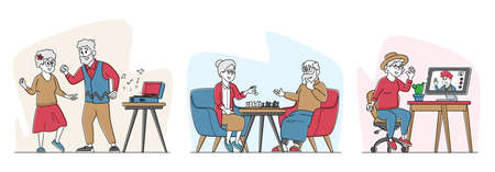 Set of Elderly Male and Female Senior People Spending Time Engaging Hobby Listening Music, Playing Chess, Dance, Chat
