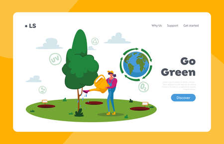 Forest Restoration, Reforestation and Planting New Trees Landing Page Template. Woman Volunteer Character Care of Plant