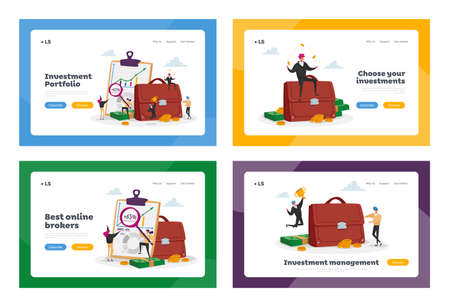 Invest Portfolio Landing Page Template Set. Tiny Investors Characters at Huge Briefcase and Info Chart. Stock Trading 矢量图像