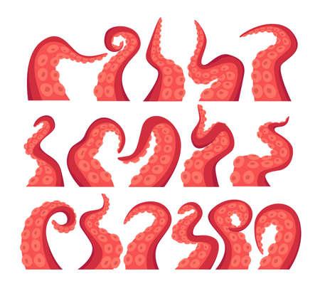 Octopus Tentacles Isolated Icons Set. Underwater Animal Antennas or Feelers on White Background. Monster Kraken Hands