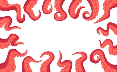 Octopus Tentacle Rectangular Border Isolated on White Background. Monster Kraken Hands, Fantasy Creature Cephalopod Arms