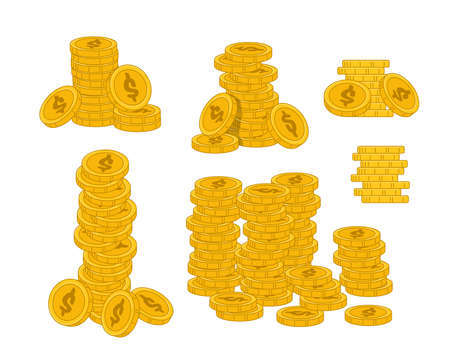 Stacks of Golden Coins Isolated on White Background. Concept of Wealth, Money Profit or Finance Success. Luxury Life