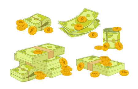 Money and Coins Set. Green Dollar Banknotes Piles and Stack, Golden Coins and Rich. Bank Debt Bill Investment, Earnings 矢量图像