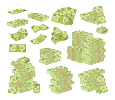Set of Money Isolated on White Background. Packing and Piles of Dollar Banknotes, Green Paper Bills Stacks and Fans