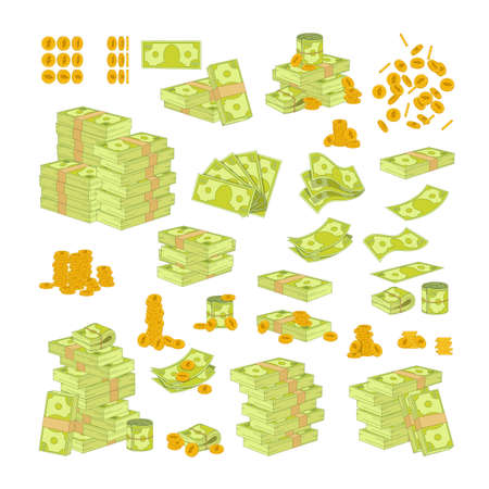 Set Various Kind of Money on White Background. Packing and Piles of Dollar Banknotes, Fan of Paper Bills. Gold Coins 矢量图像