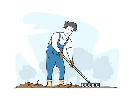 Gardening and Farming Concept. Man Gardener Character Rake Soil Care of Plants Weeding Garden Bed. Farmer Grow Vegetable