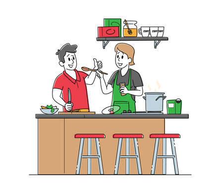 Young Couple Characters Cooking Together on Kitchen. Family Prepare Dinner of Fresh Products on Table. Every Day Routine