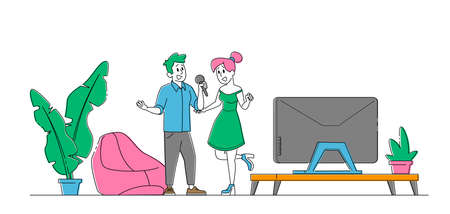 Cheerful Couple Characters Singing Karaoke Song Stand with Microphones in Living Room with Tv Set. Weekend Sparetime