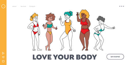 Body Positive Women Diversity Landing Page Template. Happy Multiracial, Multicultural Girl Characters of Different Ages 矢量图像