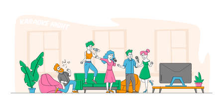 Young People Dancing, Singing Karaoke at Home Concept. Male and Female Friends Company Characters Sing with Microphones 矢量图像
