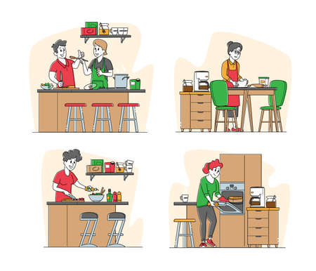 Set of Male and Female Characters Cooking. Senior Woman Kneading Dough, Couple Prepare Dinner on Kitchen at Home 矢量图像