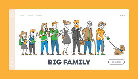 Big Family Landing Page Template. Children, Parents, Grandparents Stand in Row. School Kids, Teenagers, Adult and Senior 矢量图像