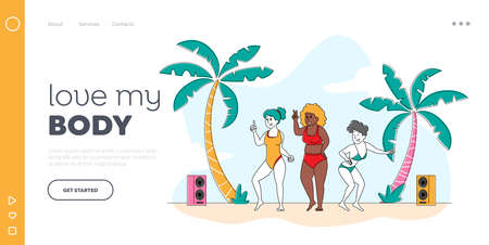 Beach Party, Body Positive Landing Page Template. Happy Slim and Overweight Girls Characters Dance and Relax on Seaside