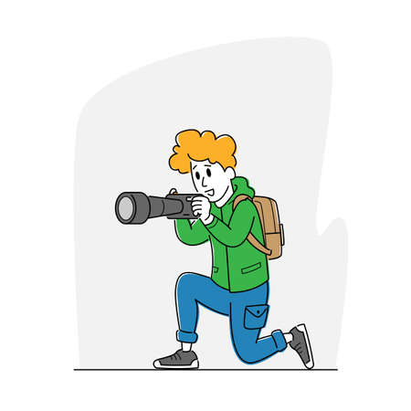 Female Photographer or Tourist with Backpack and Photo Camera Making Picture. Creative Hobby, Woman Traveling, Paparazzi