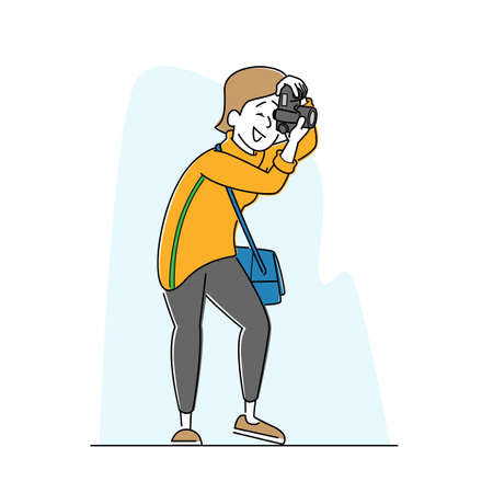 Female Photographer, Journalist Character with Photo Camera Making Picture. Woman Paparazzi, Correspondent Work, Hobby