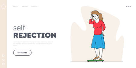 Body Rejection, Dissatisfaction Landing Page Template. Female Character with Low Self-esteem Looking at Scales 矢量图像