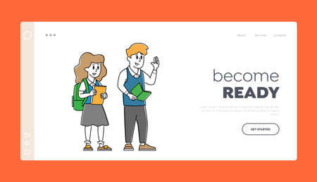 Happy Classmates Girl and Boy Landing Page Template. Kids Pupils Characters in Uniform with Backpack and Textbooks 矢量图像