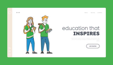 Happy Students Characters with Backpacks and Textbooks Landing Page Template. Schoolboy and Schoolgirl Concept