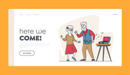 Senior Couple Dancing Landing Page Template. Elderly Characters Active Lifestyle, Old Man and Woman in Loving Relation Çizim