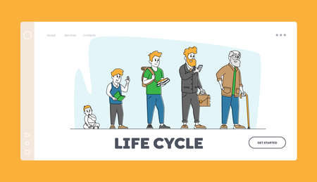 Male Character Life Cycle Growth and Aging Process, Age Generation Landing Page Template. People Baby, Kid, Adult Senior 矢量图像