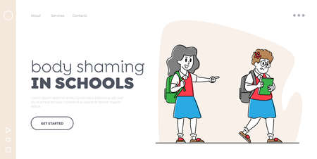 Body Shaming Landing Page Template. Schoolgirl Laughing and Pointing at Obese Girl. Bullying of Fat Child at School