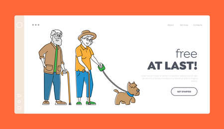 Elderly Couple Walk with Dog Landing Page Template. Senior Characters Walking with Pet, Spend Time Outdoors Relaxation 矢量图像