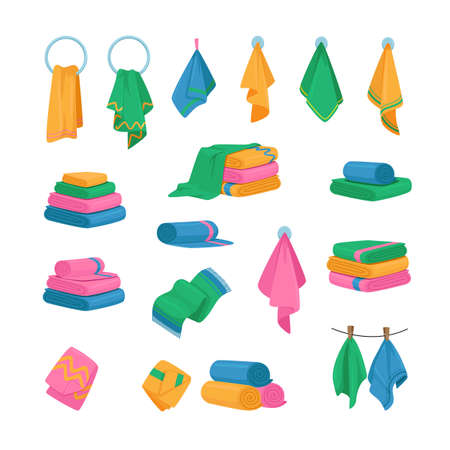 Set of Icons Towels Hanging on Hook, Ring and Rope, Stacked in Piles. Bath and Kitchen Fabric, Folded Cloth or Textile
