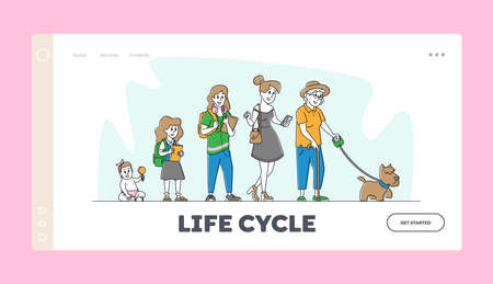 Woman Age, Female Character Lifecycle Landing Page Template. Women Aging Stages from Child to Adolescence and Elderly