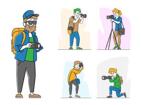 Set Various Photographers with Photo Camera. Creative Profession or Occupation. Female and Male Characters Photographing 矢量图像