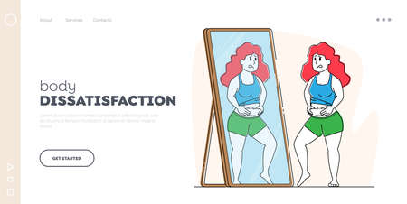 Body Rejection Landing Page Template. Plus Size Female Character Look at Mirror Reflection Dissatisfied with Figure