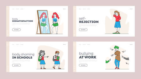 Body Shaming Landing Page Template Set. Schoolgirl Laughing and Pointing at Obese Girl. Women Characters Bodyshaming 矢量图像