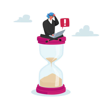 Tiny Businesswoman Character Sitting on Huge Hourglass with Laptop in Hands. Deadline, Business Process Concept, Time