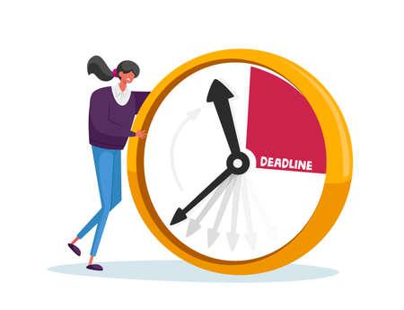 Deadline, Business Working Process Organization Concept. Businesswoman Character at Huge Alarm Clock. Time Management