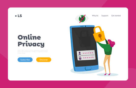 Internet Profile or Account Web Security Landing Page Template. Tiny Woman Character Stand at Huge Mobile Phone