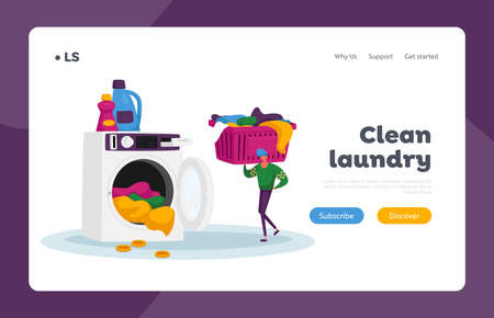 Launderette Washing Service Landing Page Template. Character in Public Laundry Put Coin, Take Clean Clothes to Basket